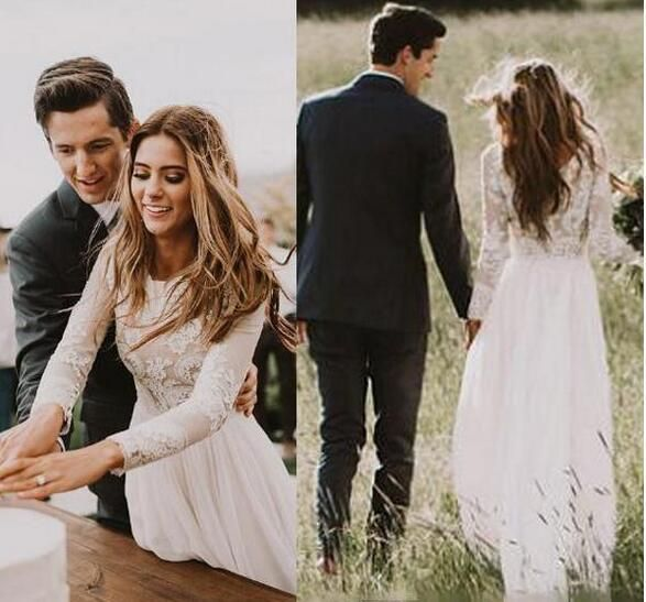 Bohemian Lace Wedding Dresses With Country Long Sleeves Floor Length A Line