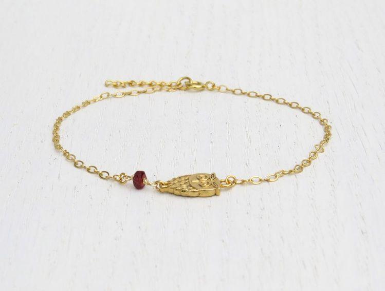 Handmade Gold Owl Anklet Red Garnet Bead Delicate Ankle Bracelet Chain