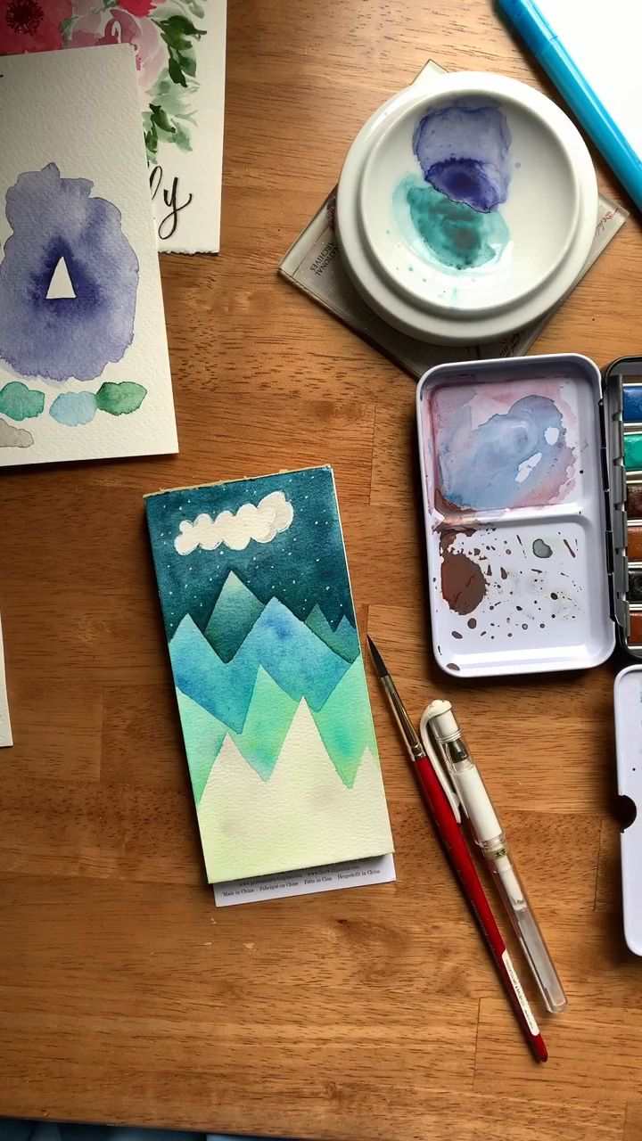 Negative space watercolor mountains ⛰