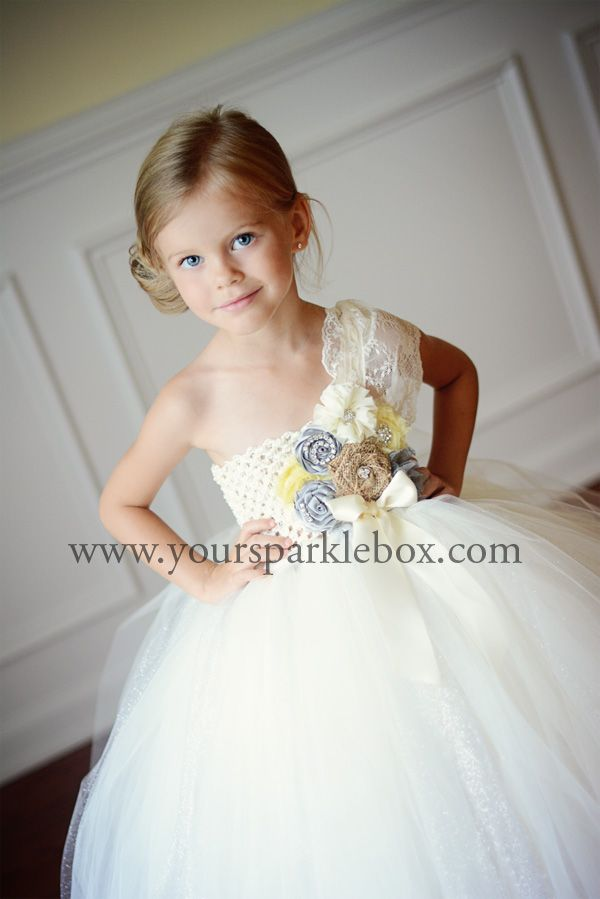 851dd3f583d8 Silver Yellow Vintage Flower Girl Dress Mustard Gray Ivory by YourSparkleBox