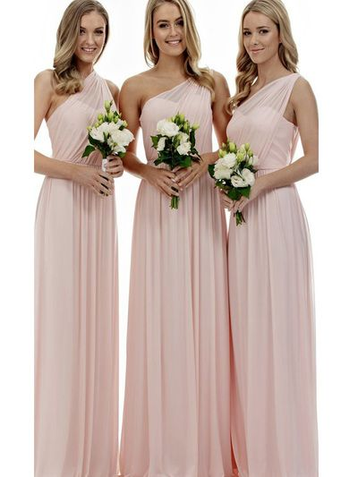 Pink and Yellow One Shoulder Bridesmaid Dresses