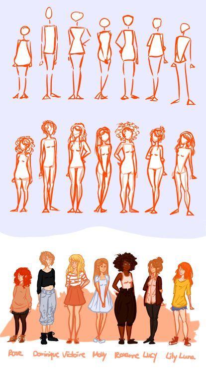 Eu tentei praticar usando diferentes formas e alturas do corpo, porque eu senti como se todas as garotas que eu desenhei parecessem as mesmas .. Estou bastante satisfeito com a aparência delas agora, mas isso pode mudar, haha