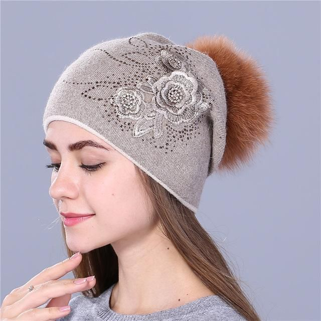 d3ecf90ad2bf7 Xthree women s winter hat Rabbit fur wool knitted hat the female of the mink  hats for women beanies