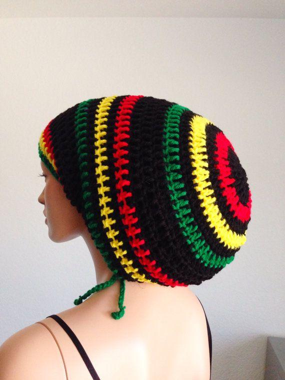 1399460136a Crochet Mega Rasta Tam. Unisex Dreadlocks Hat. Mega by Afr