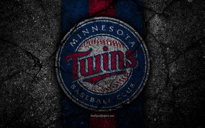 super popular 93c7c 74e64 Download wallpapers 4k, Minnesota Twins, logo, MLB, baseball, USA, black