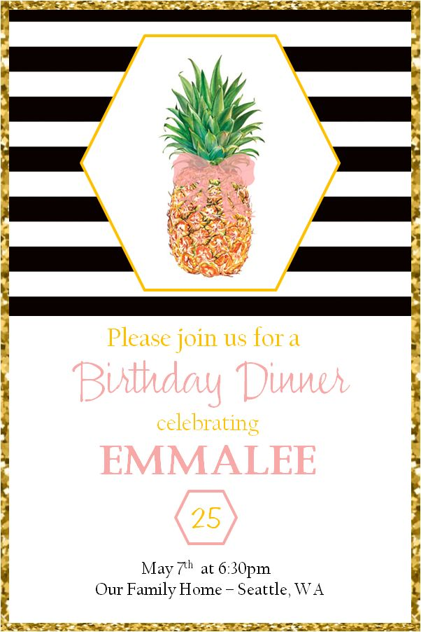 Pineapple Adult Dinner Party Birthday Ideas