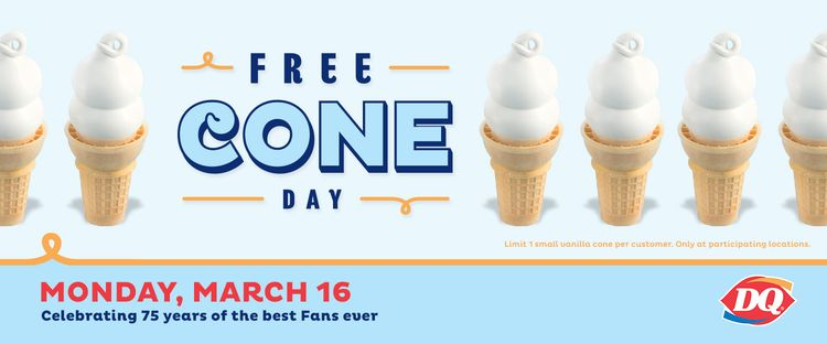 Free Cone Happy 75th Birthday To Dairy Queen On March 16