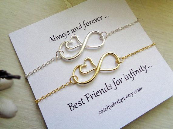 Best Friend Gift Set Of 2 Infinite Heart Braceletsbff Br