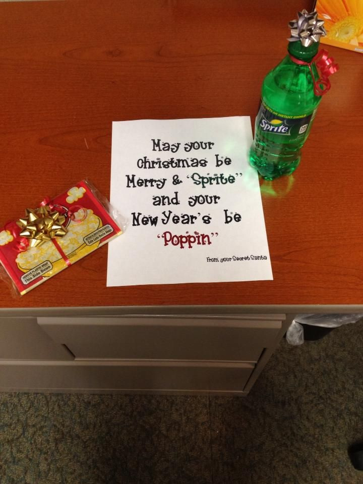 Cute Idea For A Neighbor Teacher Secret Santa Gift Stolen From Friend Thanx But May Ur Xmas Be Fanta Stic And New Year Poppin