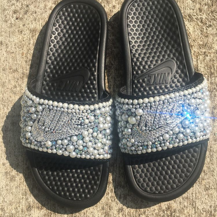 5a9637ca1f684d Black pearl bedazzle Nike Slides Available NOW and for only 45.00. That is  correct 45.00 including Slides. Women sizes Available. Get your today.