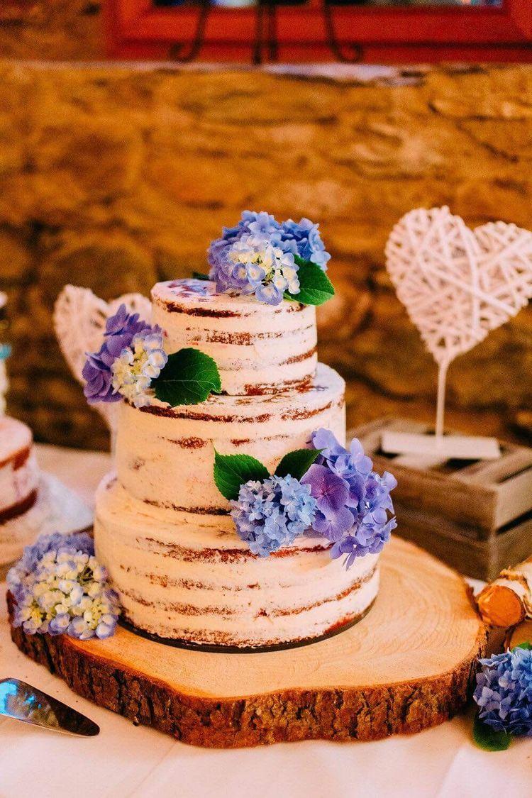 Hochzeitstorte Ohne Fondant Semi Naked Cake Hortensien