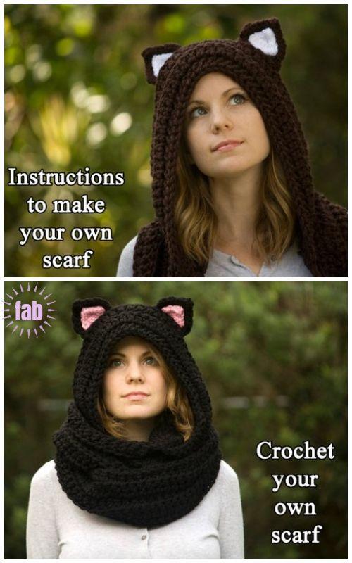 Crochet Cat Scoodie Hooded Scarf Crochet Pattern