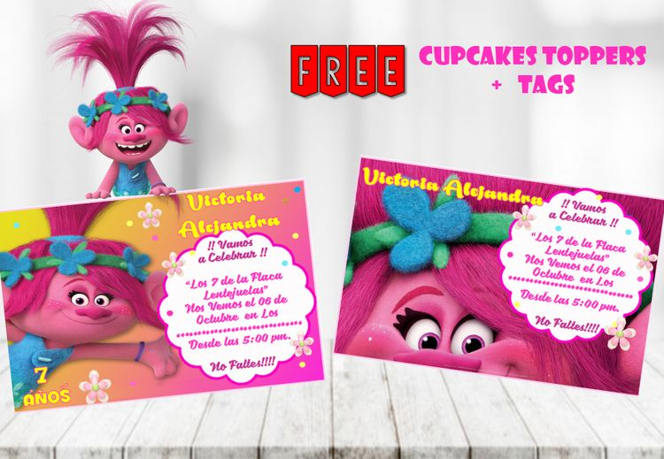 DIGITAL Trolls Invitation Tags Toppers Party Birthday Thank You Tag Theme Printables