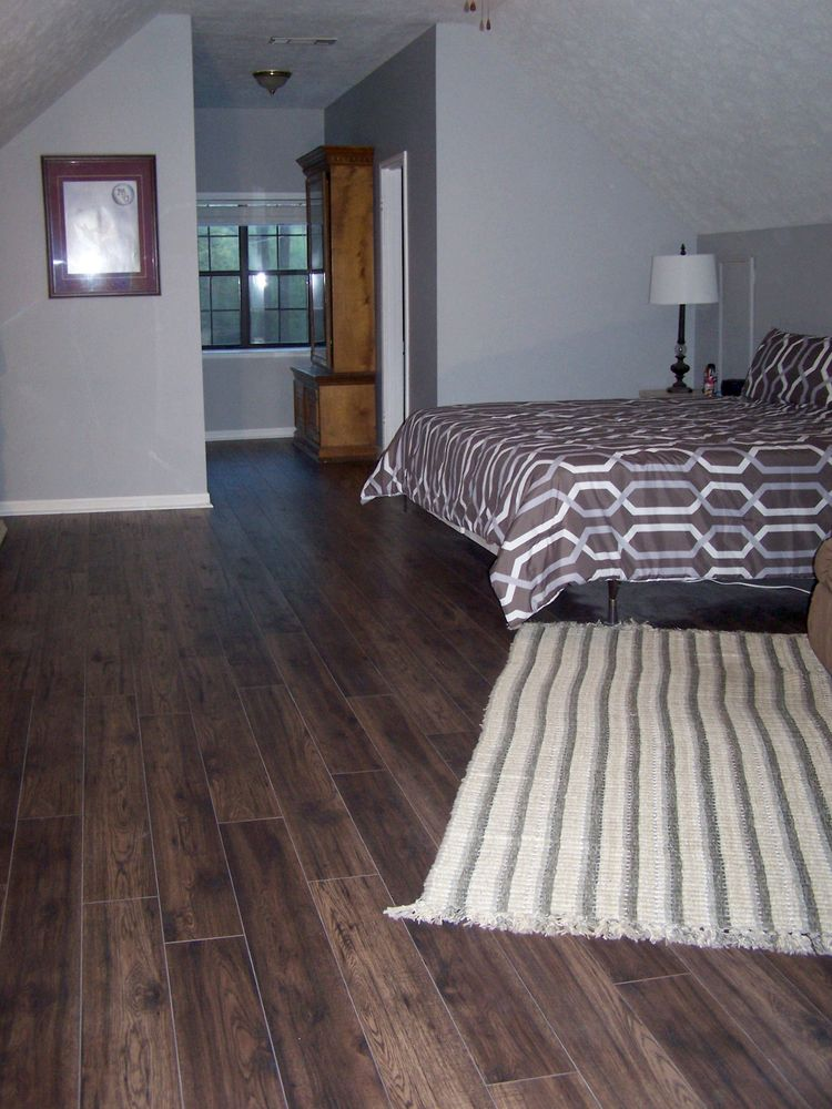 My Mother And I Laid This Laminate Flooring In Whole House Except The Bathrooms We Used 12mm Hand Sed Hickory Sku 5554331