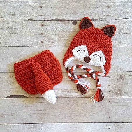 1316f42e575 Crochet Baby Fox Hat Beanie Diaper Cover Bow Newborn Infant Photography  Photo Prop Animal Set Costume Handmade Baby Shower Gift Unisex