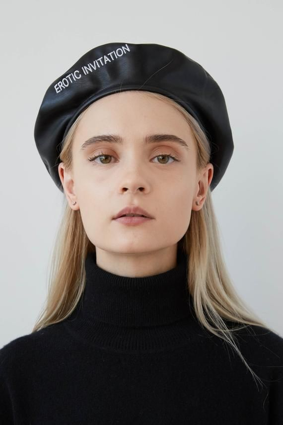 a931ac62d79ae LOLITA Leather beret with embroidery