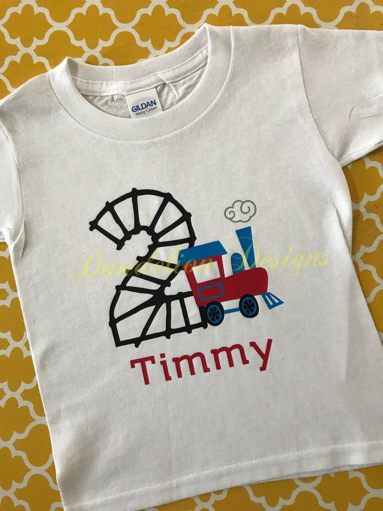 2nd Birthday Shirt Train Personalized Second Choo Theme Two Engine