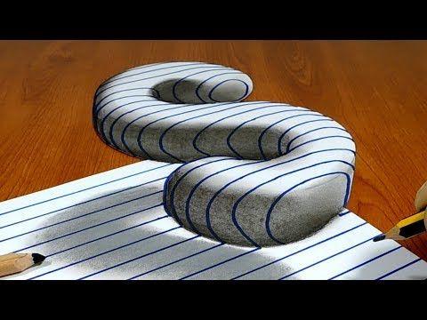 Arte de truque 3D em papel de linha, flutuante letra S