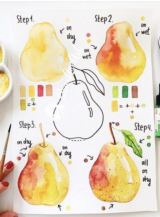 Watercolor Painting #pear Follow @Bidtoart for mo - #Bidtoart #follow #Painting #Pear #watercolor