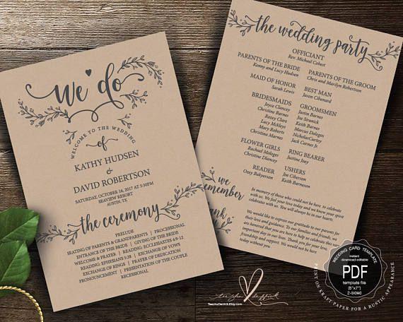 we do rustic wedding program pdf card template instant do