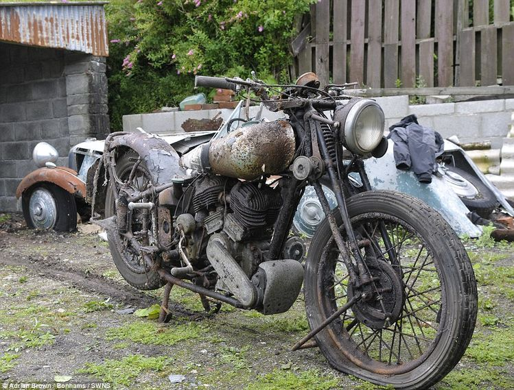 A collection of the Rolls-Royces of the motorbike world which were made famous by Lawrence of Arabia has been discovered in a barn where they had been gathering dust for 50 years