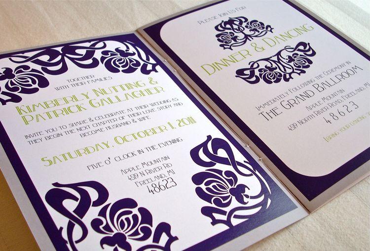art nouveau wedding invitation 5x7 saddle stitch booklet w