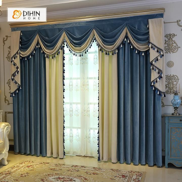 DIHIN HOME Blue and Beige Velvet Valance ,Blackout Curtains Grommet Window Curtain for Living Room ,52x84-inch,1 Panel