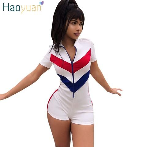 522f91ce4c39 HAOYUAN Plus Size Casual Playsuit 2018 Summer Overalls Patchwork Sexy  Bodysuit One Piece Bodycon Shorts Rompers Womens Jumpsuit