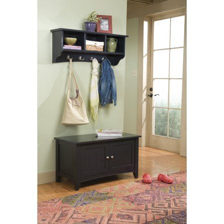 Alaterre Shaker Cottage Storage Bench Coat Hook With Black
