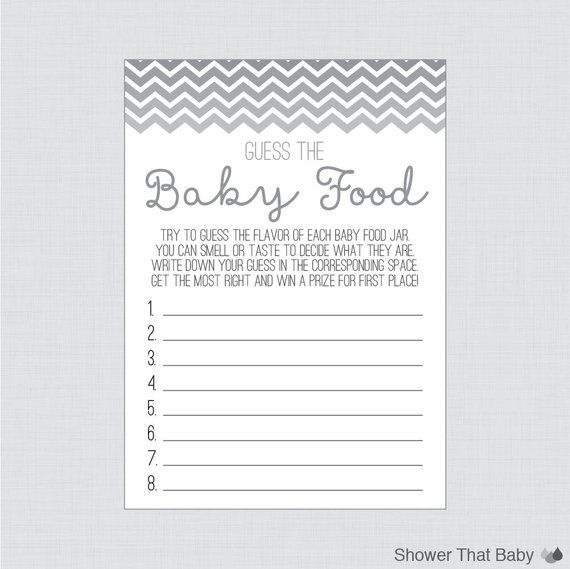 Chevron Baby Shower Game Guess The Baby Food Activity In G