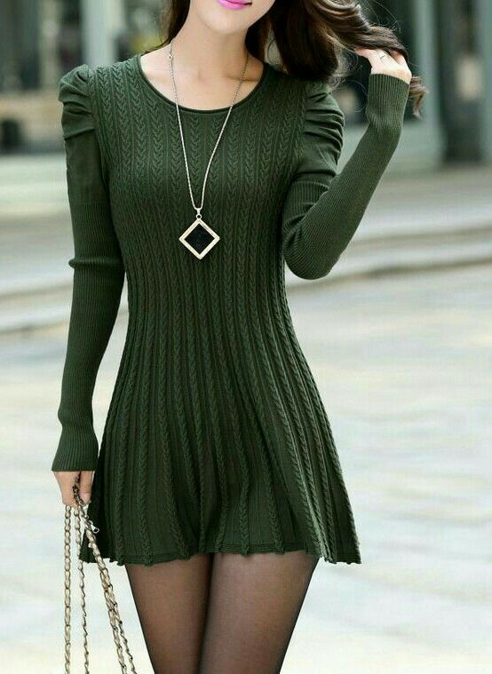 Sexy hottie in a hot little Green Sweater Dress, made for easy access...