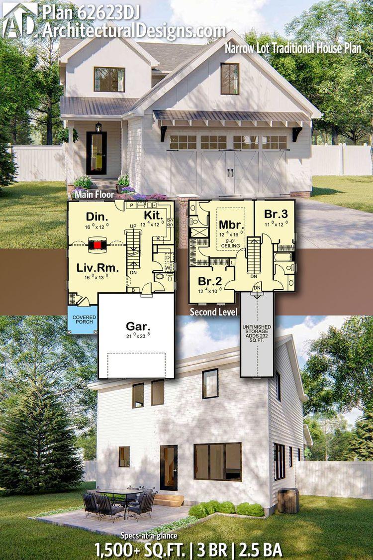 Plan 62623DJ Narrow Lot Traditional House