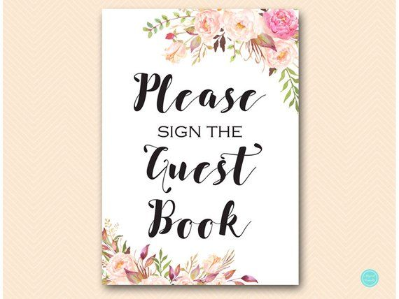 Boho Floral Please Sign Our Guestbook Sign Bridal Shower
