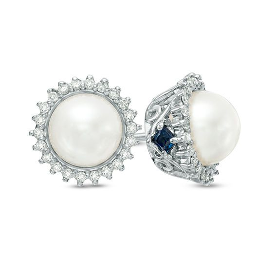 9307a15bf Vera Wang Love Collection Cultured Akoya Pearl and 1/8 CT. T.w. Diamond  Frame Stud Earrings in 14K White Gold