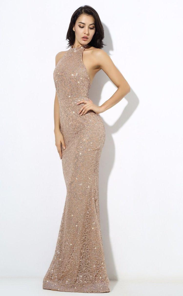 b06a5a2d44c Upon A Dream Gold Glitter Embellished Maxi Dress
