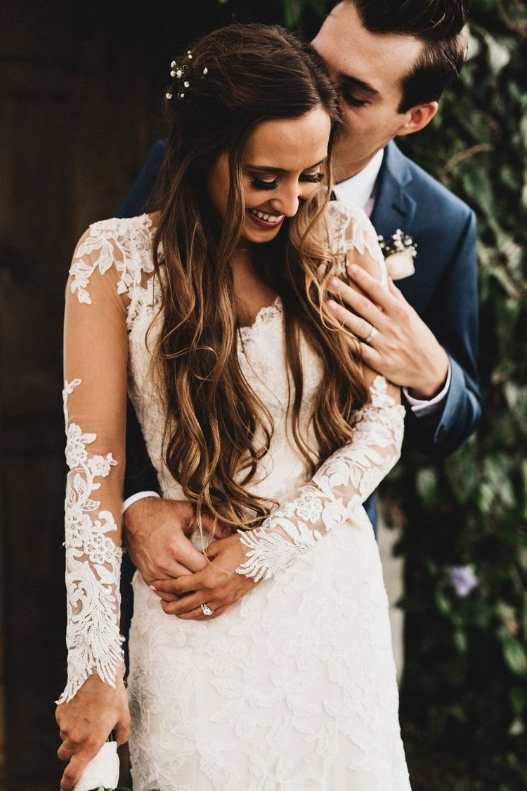 Vintage Florida Wedding Featuring A Long Sleeve Lace Dress With Cathedral Train By Designer Martina Liana