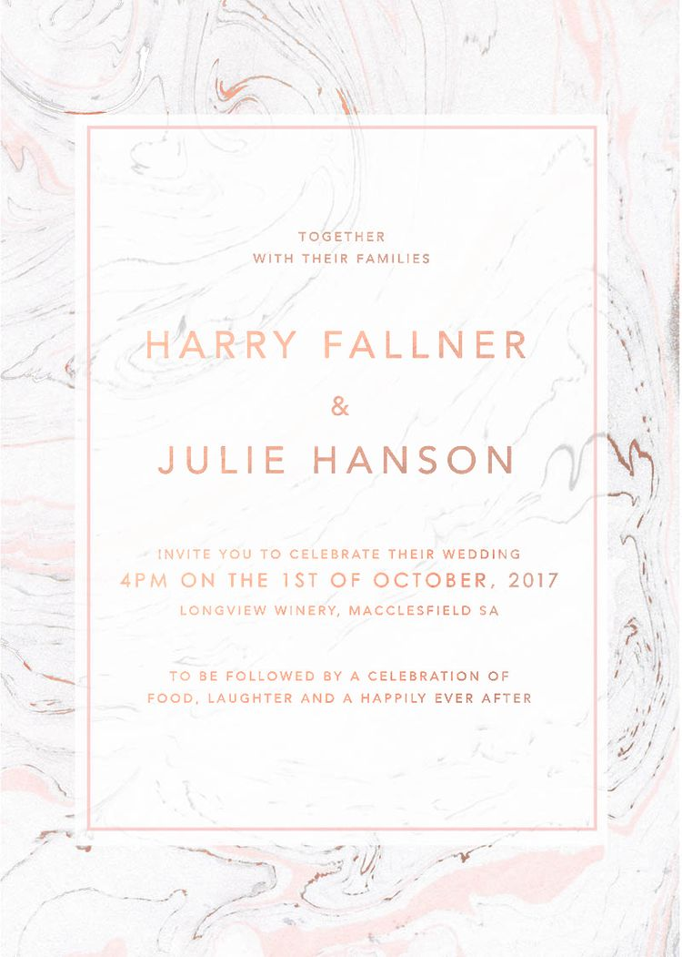 Rose Gold Marble Wedding Invitations Pink And Grey Marble