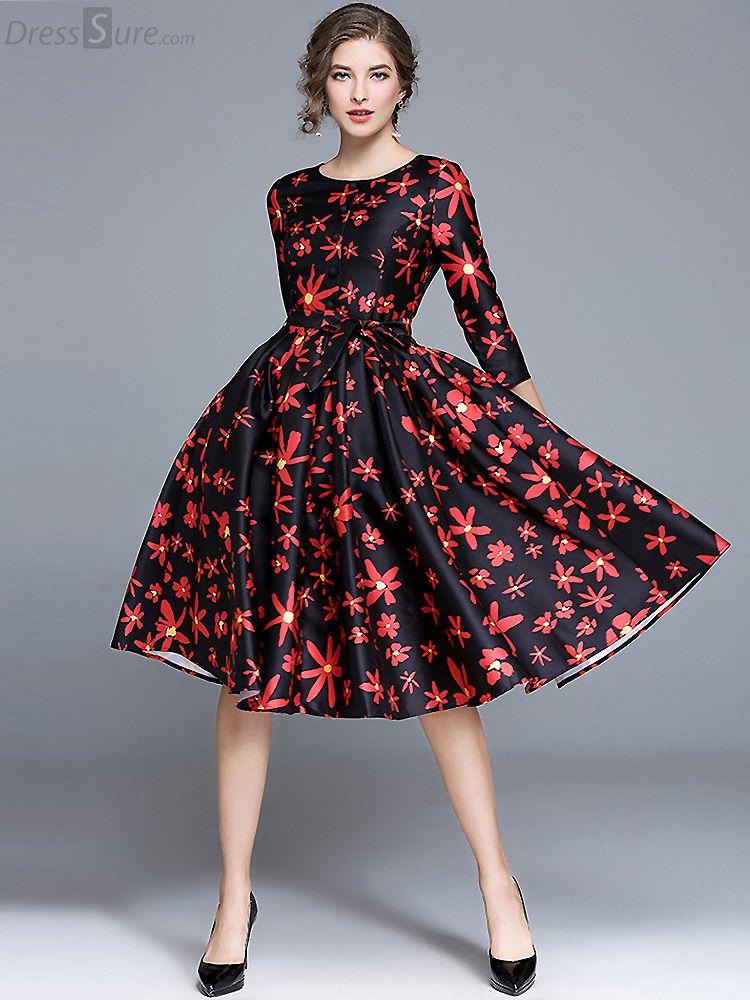 d24de2aaf62ff Elegant O-Neck 3/4 Sleeve Floral Print Skater Dress