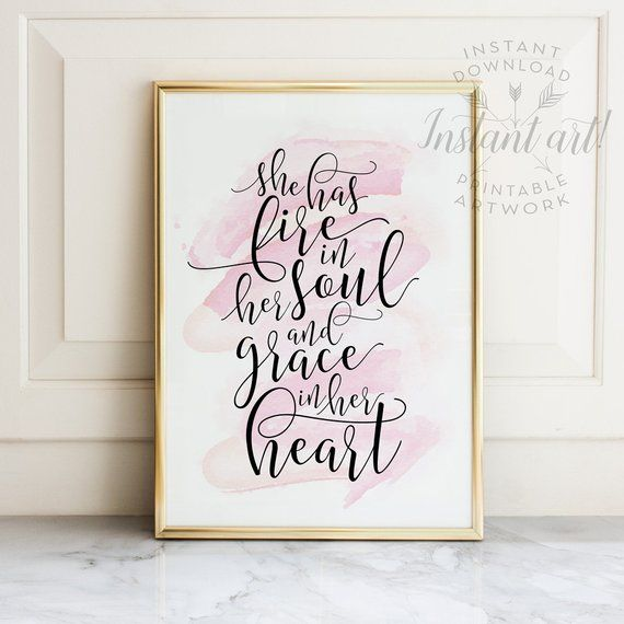 Gift For Her Printable Quotes She Has Fire In Her Soul I
