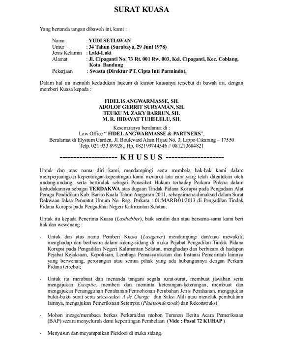 Contoh Surat Kuasa Khusus Pidana Yang Baik Dan Benar