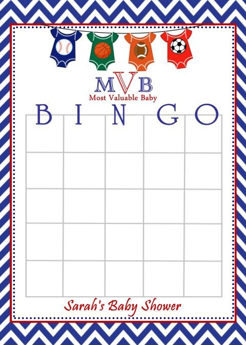 All Star Sport Themed Baby Shower Bingo Cards From Favors