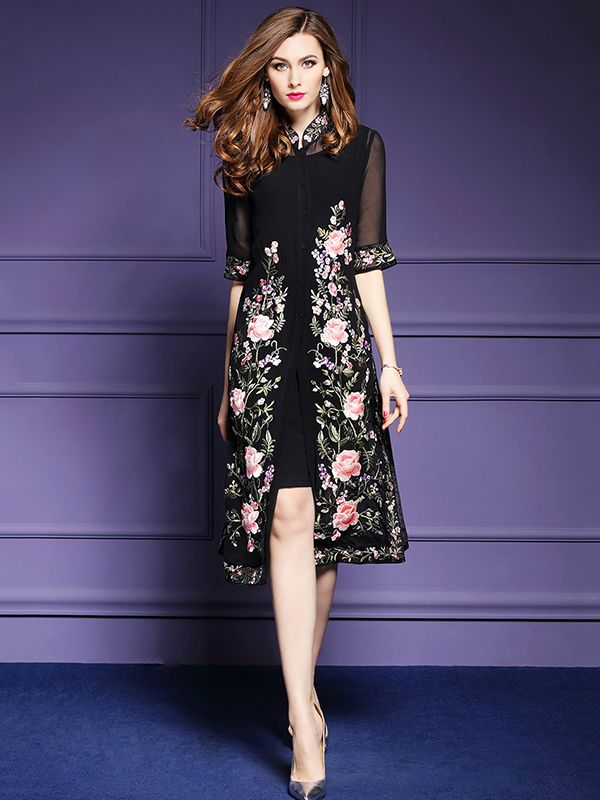 fb680b98606 Black Embroidered Floral Mandarin Neckline Midi Dress