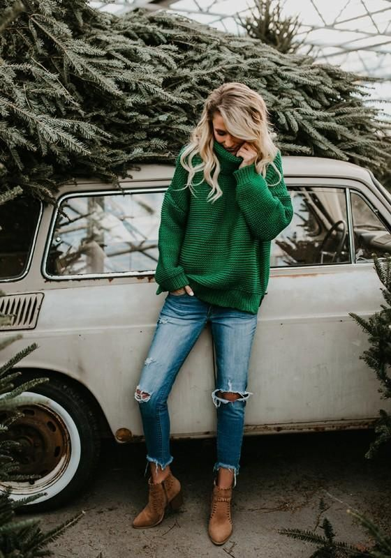 DaysCloth Green Oversize Long Sleeve High Neck Christmas Casual Pullover Sweater – DaysCloth.com