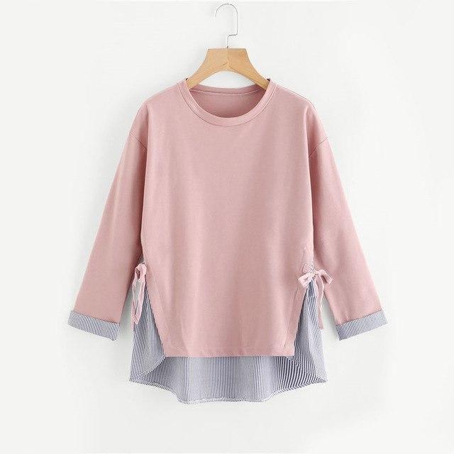 Dotfashion Contrast Striped Dip Hem Self Tie Cuffed Sweatshirt 2017 Round Neck Cute Top Female Autumn Long Sleeve Sweatshirt