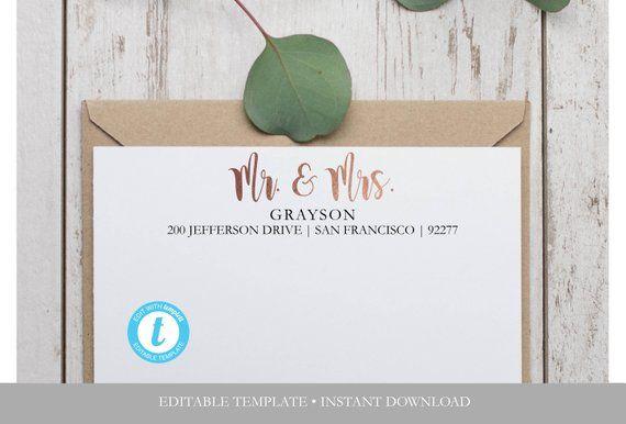 Faux Foil Mr Mrs Return Address Label Template