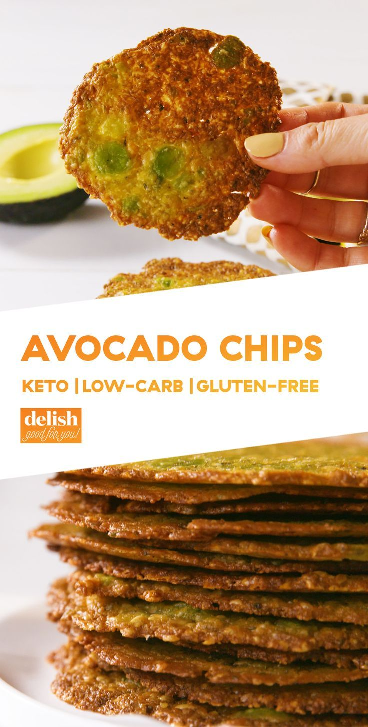 These low-carb Avocado Chips will send potato chips to their grave. Get the recipe at Delish.com. #recipe #easy #easyrecipe #cheese #avocado #chips #snack #lowcarb #lowcarbdiet #lowcarbrecipes #glutenfree #glutenfreerecipes #keto #ketogenic #ketodiet