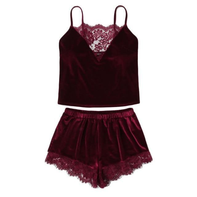 0ebe7f7e22 SHEIN NEW Lace Trim Velvet Cami & Shorts Pajamas Set
