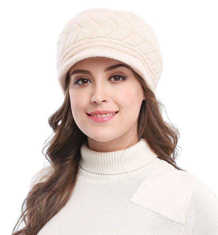 Women s Lady s Winter Knit Thick Warm Hats Beanie Hat Ski Caps With Visor -  Beige - C01286W4AXH d528fbaf76e4
