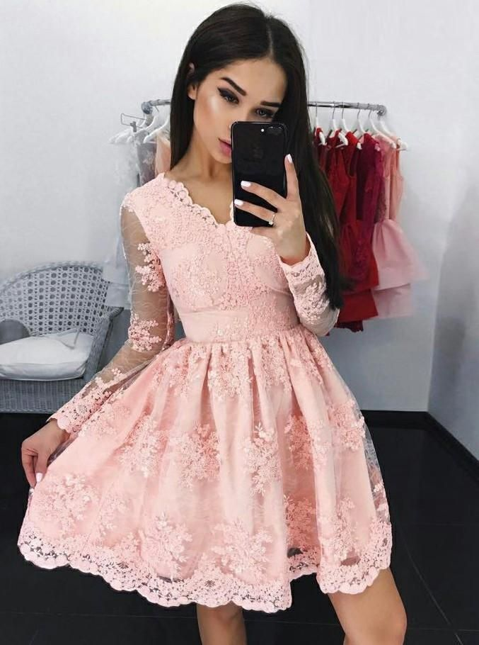 19922c7800b Pink Tulle Cocktail Lace V-neck Long Sleeve Applique Homecoming Dresses
