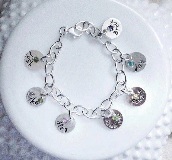 Personalized Charm Bracelet Name Birthstone Grandmother Mother Grandma Gift Engraved Stamped Sterlin